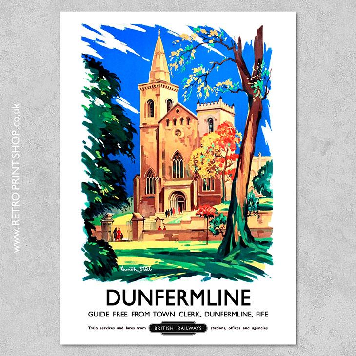 Vintage Transport Railway Rail Travel Poster RE PRINT Dunfermline