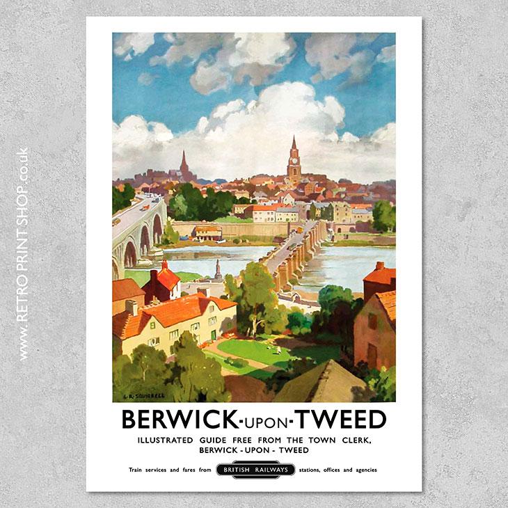 3 Berwick Upon Tweed British Railway Its Quicker By Rail Photo Vintage Poster